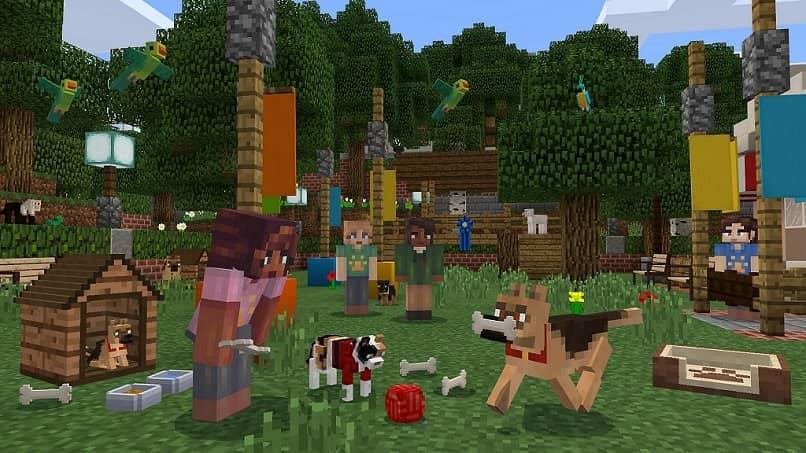 personajes de minecraft jugando con un perro