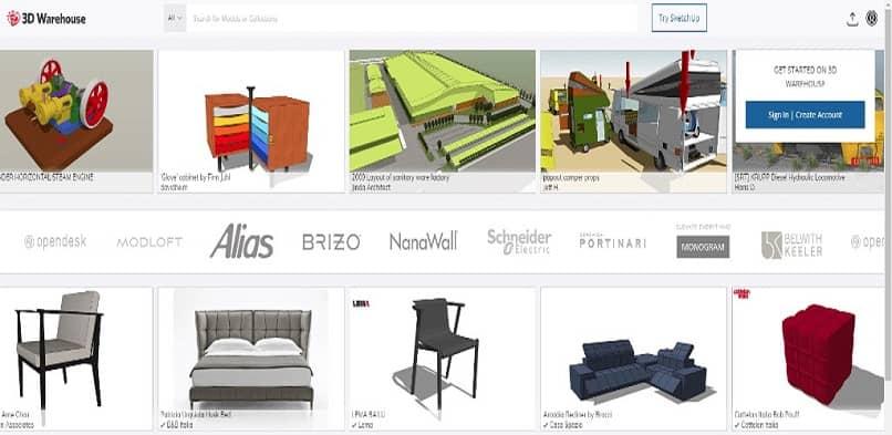 auténticos muebles de SketchUp
