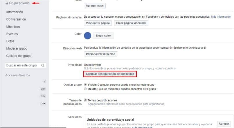 La información está agrupada en Facebook