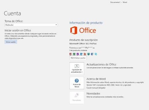 Ventana de cuenta de Microsoft Office 365