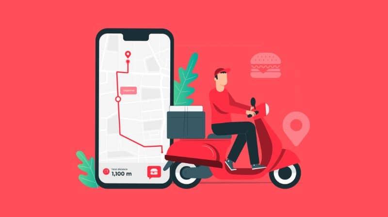 Ilustración de hombre en motocicleta y fondo rojo móvil