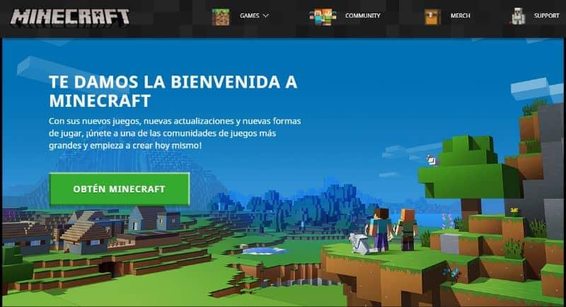Sitio web de Minecraft