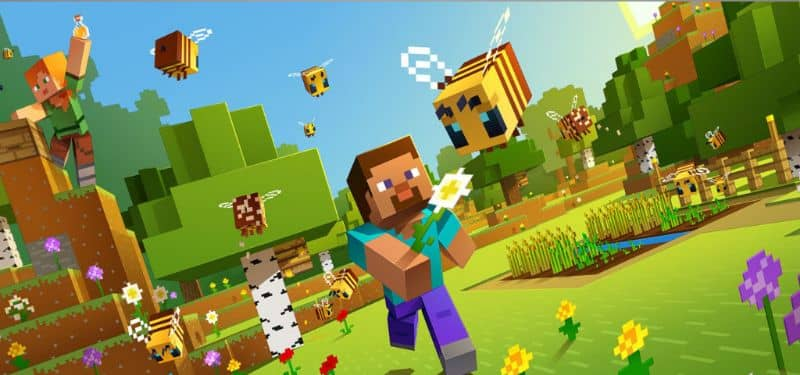Minecraft hombre con papel tapiz de flores