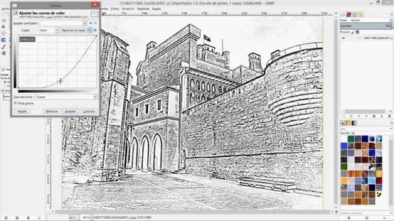 la imagen se convirtió en un diseño con un cuadro de gimp para editar y una paleta de colores en la parte inferior izquierda
