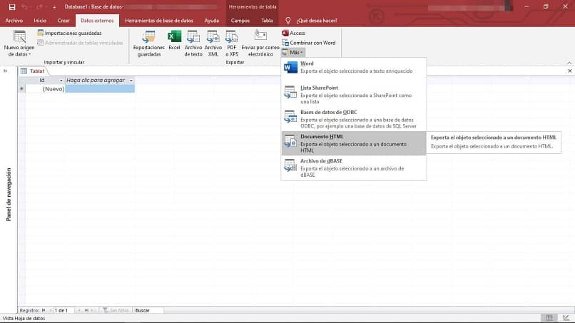 Crea un archivo HTML con Access