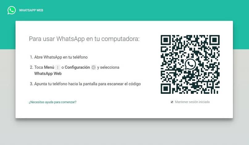 inicia el código QR para whatsapp web