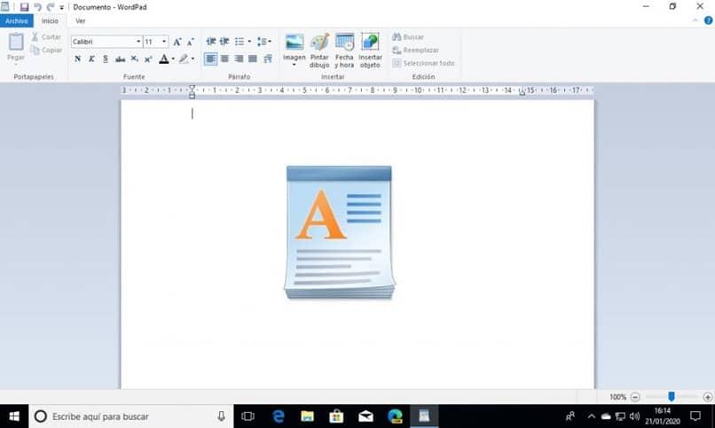 diseño de página wordpad
