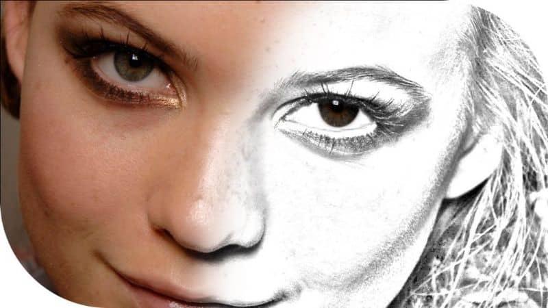 foto de niña convertida en dibujar la mitad de su cara con gimp